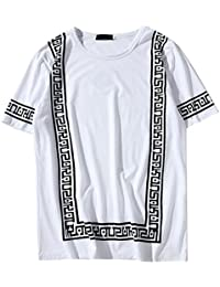 QIYUN.Z Camiseta Estampada con Cuello En Pico De Cuello Redondo De Manga Corta para Hombres 9fmmGu
