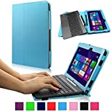 Infiland ASUS Transformer Book T100TAM / T100 / T100TA-C1-GR / T100TAF-B1-BF Window 8.1 Tablet 10.1-Inch Folio PU Leather Stand Keyboard Case Cover (ASUS Transformer Book T100 / T100TA-C1-GR)(with Auto Sleep / Wake Feature,Blue)