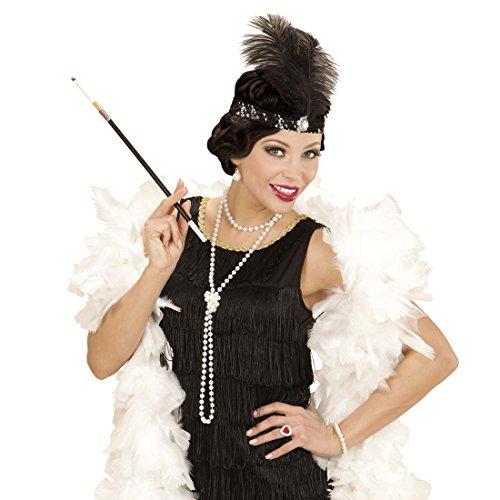 Charleston Kostüm Set mit Kopfschmuck, Halskette und Zigarettenspitze - Gatsby Mode Outfit Damen 20er 30er Jahre Bekleidung Federschmuck Haarband Flapper Haarschmuck (30er Jahre Mode Kostüm)