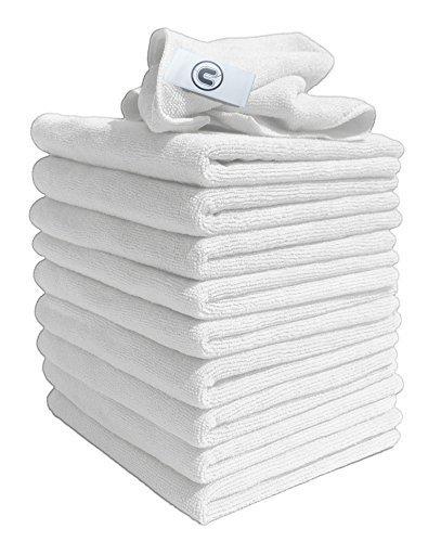 Preisvergleich Produktbild Mikrofaser Tücher - Packung mit 10 Tüchern - Groß 40cm x 40cm - Weiß - Super zum reinigen von Autos, Booten, Küchen , Badezimmer, Spiegel usw. Vertrags Qualität wird von Reinigungsprofis verwendet - Billige Reinigungs Artikel für den täglichen Gebra