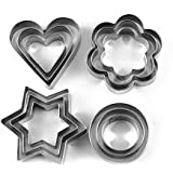 Clomana 12 Pieces Cookie Cutter Stainless Steel Cookie Cutter With 4 Shape Cookie Cutter Shapes Cookies Cutter Shapes Shaped Cookie Cutter