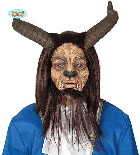 Guirca maschera fauno corna barba horror halloween carnevale latex