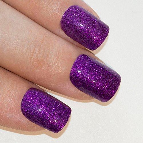 Faux Ongles Bling Art Violet Gel 24 Squoval Moyen Faux bouts d'ongles acrylique avec de la colle