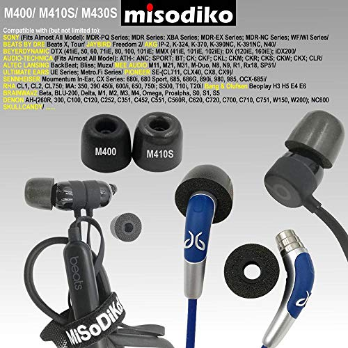 misodiko Memory Foam In-Ear Kopfhörer Ohrstöpsel – für Kopfhörer mit Ø 4,1mm – 5mm Inner Ear Nozzle Tips | Ersatz Schaum Tipps | Geräuschunterdrückung | M400, Ø4mm | 3Paar, S (Klein) - 2
