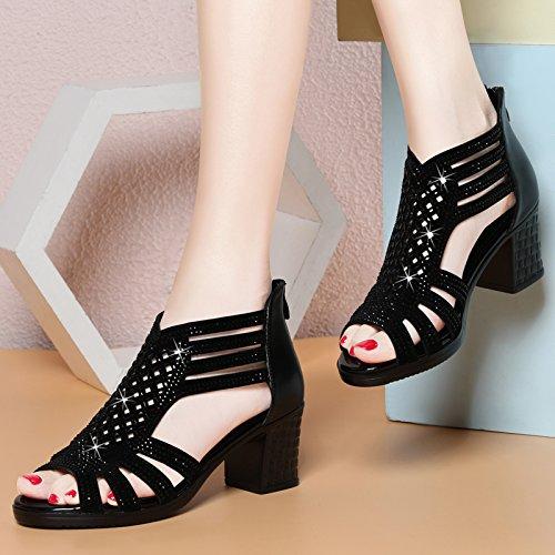 Gtvernh-été Femme Noir Dur Documentaire 4.5cm Sandales Chaussures Chaussures Avec La Mère De L'âge Moyen Bas Toutes Les Femmes De Match Sandales., 35 Quarante