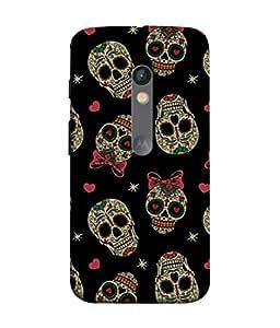 PrintVisa Designer Back Case Cover for Motorola Moto X Play (Skulls Wearing Bow And Hearts In Black Background)