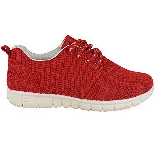 Loudlook Neuen Frauen Ladies Gym Komfortable Leichtlauf Walking-Trainer-Schuhe Der Größe 3-8 Red