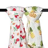 Mussola Baby fasciare coperte - Confezione da 2 grandi 120 x 120 cm in cotone biologico square- 'Fragola & Ananas' - copertina avvolgente, per il ruttino passeggino cover- nursery Shower Gift set unisex neutro