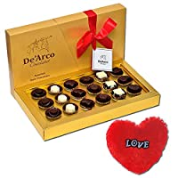De'Arco Chocolatier Valentines Day Chocolate Gift, Premium Luxury Chocolates, 18pcs + Free Fur Heart