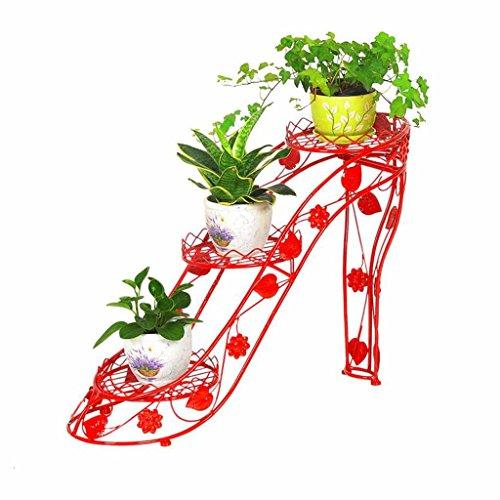 Dongyd Persönlichkeit kreative High Heels Schmiedeeisen Blumenregal Multi-Layer-Indoor Blumentopf Rack Wohnzimmer Topfregal Balkon Blume Regal Standing-grünen Blumenstand -