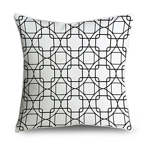 fabricmcc schwarz und weiß Kette Link Kreise Muster Dekorativer Überwurf-Kissenbezug Kissenbezug, quadratisch 18x 18 -