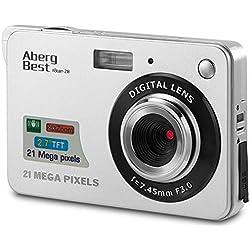 """AbergBest 21 Megapixel 2,7"""" LCD Wiederaufladbare HD Digitalkamera Digitale Videokamera Studentenkamera Indoor Outdoor für Erwachsene/Senioren / Kinder (Silber)"""