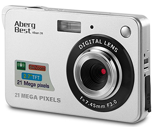 "ABERG BEST AbergBest 21 Mega Pixels 2.7"" LCD Rechargeable HD Digital Video Students Cameras-Indoor Outdoor for Adult/Seniors/Kids (Red), Plastic,Metal, Silver, 9.5cm ×6.1cm×2.4cm"