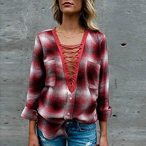 Femme T-shirt, Feixiang & # X2648; exclusif customisation tendance pour femme décontracté rayé Lattice manches longues TOPS T-shirt en dentelle Loose Chemisier XL Red