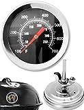 HomeTools.eu - Temperatur-Beständiges analoges BBQ Grill Koch Thermometer | Zum Nachrüsten für BBQ Grill Töpfe Bräter Räucherofen | 10°C - 350 °C