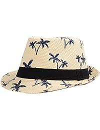 Nikgic Niños Mode Hawaiian Style Breathable Coco palmera patrón sombrero  Festival Tiempo Libre Sombrero de paja Crema solar del ocio… 00edc5dac00