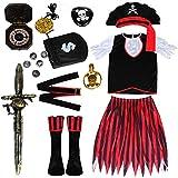 Joinfun 11 TLG Piratenkostüm Kinder Mädchen Pirat Kostüm Kinder Pirat Zubehör Kinder Seeräuberin Party Piraten Kleid mit Schwert Kompass AugenKlappe(M)
