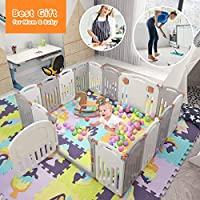 Baby Playpen,Foldable Playpen with Gates Activity Center Safety Play Yard for Babies and Kids - 14+2 Panel HDPE Indoor Outdoor Playards Fence Set