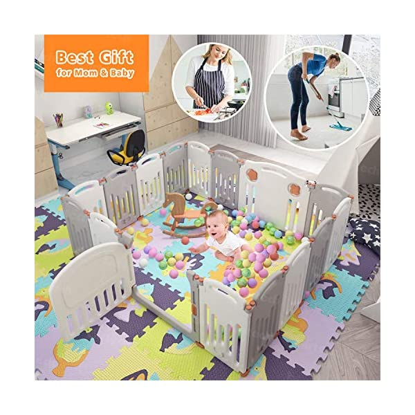 Baby Playpen,Foldable Playpen with Gates Activity Center Safety Play Yard for Babies and Kids - 14+2 Panel HDPE Indoor Outdoor Playards Fence Set Birtech 💝👼🏩Baby Playpen with Safety Material 💝👼🏩Crafted with high quality non-toxic commercial grade HDPE material widely utilized for every day products,BPA free and non-recycle material with HDPE, no any odor, perfect for your baby. 💝👼🏩Baby Playpen to Free You Hands💝👼🏩Cooking/housework or just want to rest inside the house for a while, a playpen is a great idea. You will have a play center to keep your baby safe and entertained. You can set it up easily and your kids can use their play area right away. 💝👼🏩Flexible Shape💝👼🏩You can use all 14+2 panels or less, it's up to you, this feature along with the ability to shape it be it square, rectangle, hexagon or octagon will fit anywhere in your house. 1