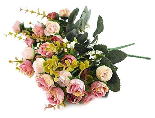 Fiori secchi e confezione da 21 pezzi, in seta, a forma di rose, finto bouquet, matrimonio, decorazione per la casa, confezione da 2 pezzi, color rosa e caffè - 5