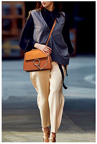 SAIERLONG Nuovo Donna Blu Pelle Bovina Genuina Borse Crossbody Sacchetti di spalla Grigio