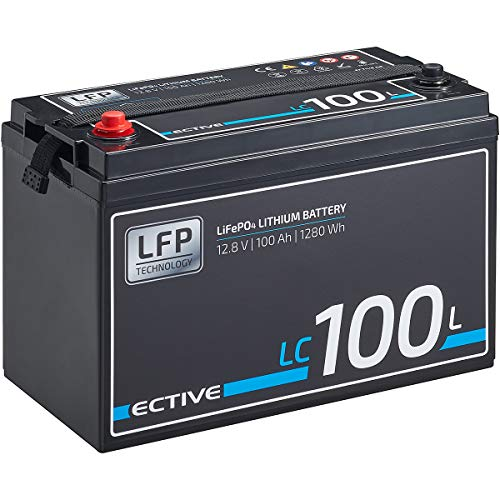 ECTIVE LC100L 12V 100Ah 1280Wh LiFePo4 Lithium-Eisenphosphat Versorgungs-Batterie mit BMS