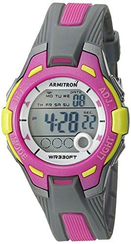 Armitron Sport 45/7030gypk luz Verde de la Mujer con Digital Gris y Rosa Correa de Resina Reloj