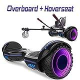 COLORWAY Hoverboard 6,5' 700W con Ruedas de Flash LED, Altavoz Bluetooth y LED, Autoequilibrio de Scooter Eléctrico (Negro-Kart Negro)