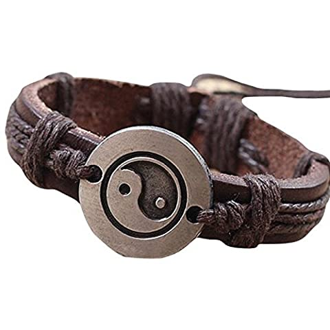Oyedens Men Women Lover Leather Bracelet Tai Chi Ying Yang Wristband Rock Punk Bangles
