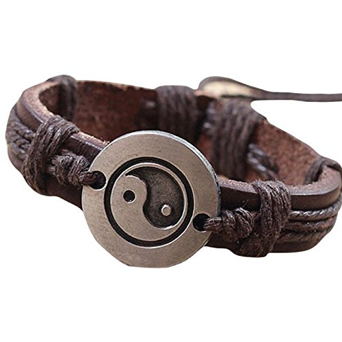 Price comparison product image Oyedens Men Women Lover Leather Bracelet Tai Chi Ying Yang Wristband Rock Punk Bangles