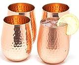 Kupfer Weingläser Set von 4 x 560 ml - Klauenhammer, glänzenden 100% massives Kupfer gehämmert Wein Weingläser ohne Stiel Becher - Tolles Tassen für rot oder weiß Wein und Moscow Mule