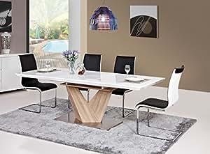 tisch esstisch esszimmertisch s ulentisch 90x160 220 hochglanz wei ausziehbar alaras amazon. Black Bedroom Furniture Sets. Home Design Ideas