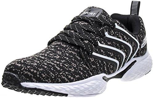 PORTANT Outdoor Sport Running Schuhe Leicht Schnürer Wander Sneakers Herren Freizeit Straßen Laufschuhe Mesh Atmungsaktiv Fitness Turnschuhe Weiß Schwarz 44 EU (45 Asien)