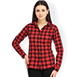#3: Women's Red and Black Casual Checkered Shirt by Adiba