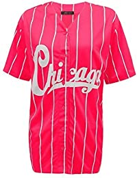 NEW WOMENS LADIES CHICAGO STRIPES AMERICAN BASEBALL VARSITY JERSEY TOP T-SHIRT