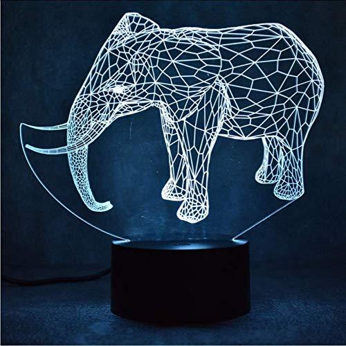Großhandel elefanten 3d nachtlicht smart home usb stromversorgung atmosphäre kind spielzeug kinder lampe schöne 7 farbe ändern 3d lampe
