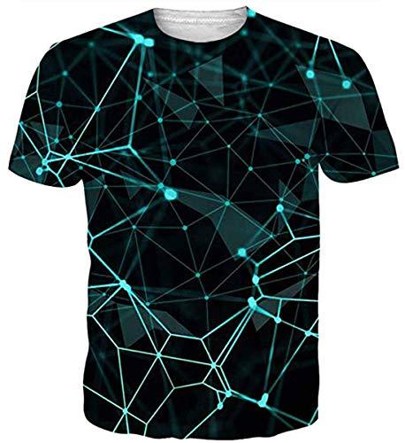 55fee38c4fcf2 uideazone Unisex Casual Diamante Patrón Manga Corta 3D Impreso Short Sleeve  T-Shirts Top Tees
