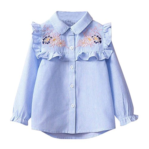 Yukong Baby Girls Striped Tops Floral Embroidery Shirt Blouse Kids Single Breasted Ruffle Cloth (Blue, Size:3T)