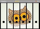 Wallario Ordnerrücken Sticker Lustige Comic Eule mit großen Augen in Premiumqualität - Größe 36 x 30 cm, passend für 6 breite Ordnerrücken