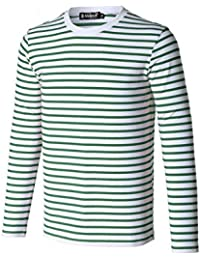 Sourcingmap Allegra K Christmas Men Crew Neck Striped Long Sleeves Cotton/Spandex Causal T-Shirt