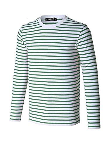 Allegra K Camiseta Para Hombres Cuello Redondo Mangas Largas Estampado de Rayas - Verde/L (US 42, EU 52)