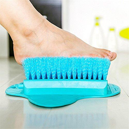 Pied nettoyant Laveur Masseur Pieds de Douche laveuse TPR Poils Doux Bleu Vert Bain exfoliant Brosse enlever la Peau MortePratique, Bleu