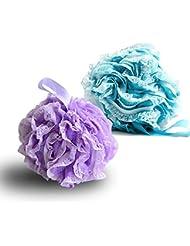 G2PLUS Lot de 2 fleurs de massage exfoliantes pour le bain