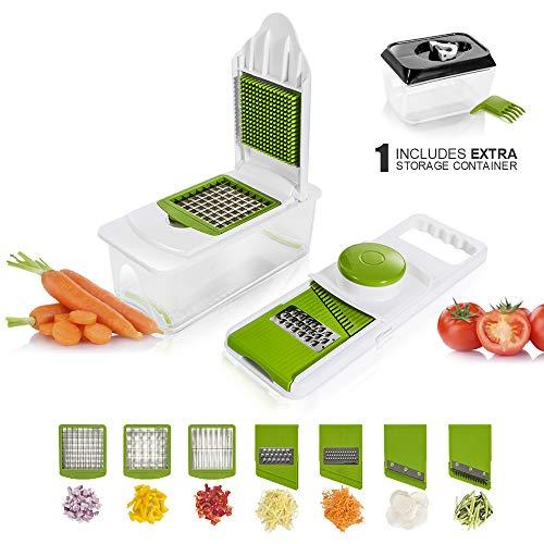 Masthome Gemüsehobel mit einstellbaren 7 Edelstahl-Klingen, Küchenschneider & Gemüseschneider - mit extra Lebensmittelbehälter