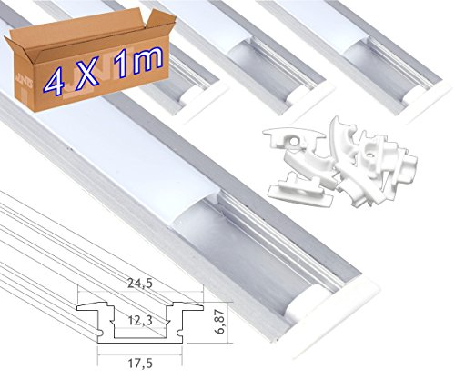 Jandei 4* 1m-Profil Aluminium Strip LED Einbaustrahler Deckel rund transluzent 24,5x 17,5mm
