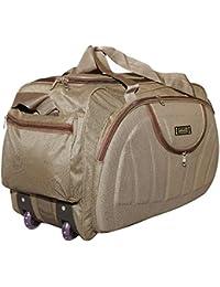 alfisha Unisex Synthetic Brown Lightweight Waterproof Luggage Travel Duffel Bag with Roller Wheels
