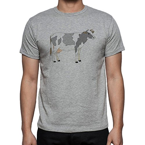 Bull Cow Animals Farm Digital Cartoon Herren T-Shirt Grau