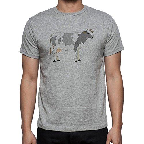 Bull Cow Animals Farm Digital Cartoon Herren T-Shirt Grau
