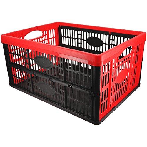 Promobo Panier Cageot Pliable Idéal Coffre De Voiture Et Rangement Fruits Et Légumes Rouge 32L