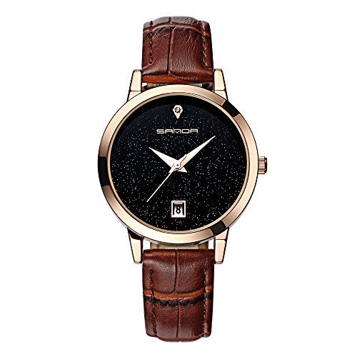 Luxus Mode Leder Band Analoge Quarz Runde Armbanduhr Uhren (Violett)